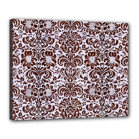 Damask2 White Marble & Reddish Brown Wood (r) Canvas 20  X 16  by trendistuff