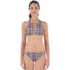 Damask2 White Marble & Reddish Brown Wood (r) Perfectly Cut Out Bikini Set