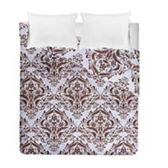 Damask1 White Marble & Reddish Brown Wood (r) Duvet Cover Double Side (full/ Double Size) by trendistuff