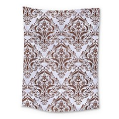 Damask1 White Marble & Reddish Brown Wood (r) Medium Tapestry by trendistuff