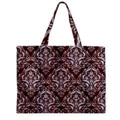 Damask1 White Marble & Reddish Brown Wood Zipper Mini Tote Bag by trendistuff