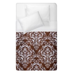 Damask1 White Marble & Reddish Brown Wood Duvet Cover (single Size) by trendistuff