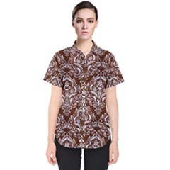 Damask1 White Marble & Reddish Brown Wood Women s Short Sleeve Shirt