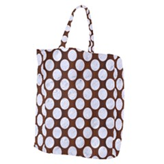 Circles2 White Marble & Reddish Brown Wood Giant Grocery Zipper Tote by trendistuff