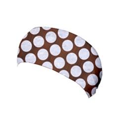 Circles2 White Marble & Reddish Brown Wood Yoga Headband