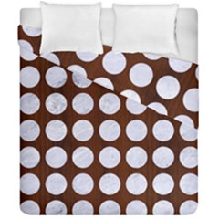 Circles1 White Marble & Reddish Brown Wood Duvet Cover Double Side (california King Size) by trendistuff