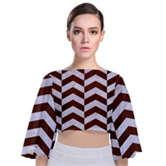 Chevron2 White Marble & Reddish Brown Wood Tie Back Butterfly Sleeve Chiffon Top