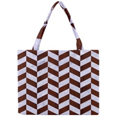 Chevron1 White Marble & Reddish Brown Wood Mini Tote Bag
