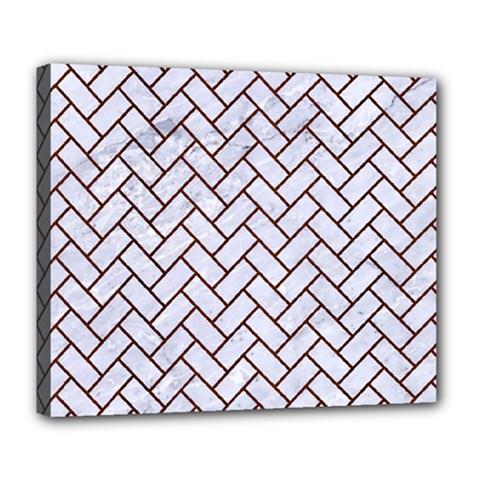 Brick2 White Marble & Reddish Brown Wood (r) Deluxe Canvas 24  X 20   by trendistuff