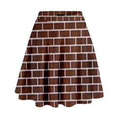 Brick1 White Marble & Reddish Brown Wood High Waist Skirt by trendistuff