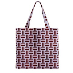 Woven1 White Marble & Reddish Brown Leather (r) Zipper Grocery Tote Bag by trendistuff