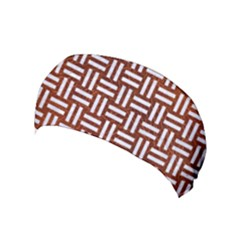 Woven1 White Marble & Reddish Brown Leather Yoga Headband