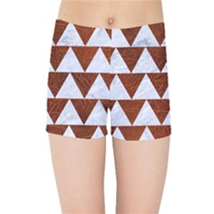 Triangle2 White Marble & Reddish Brown Leather Kids Sports Shorts