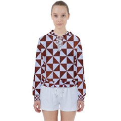 Triangle1 White Marble & Reddish Brown Leather Women s Tie Up Sweat