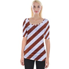 Stripes3 White Marble & Reddish Brown Leather (r) Wide Neckline Tee