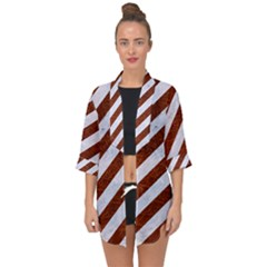 Stripes3 White Marble & Reddish Brown Leather (r) Open Front Chiffon Kimono