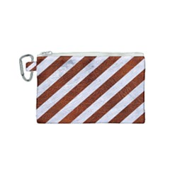 Stripes3 White Marble & Reddish Brown Leather (r) Canvas Cosmetic Bag (small) by trendistuff