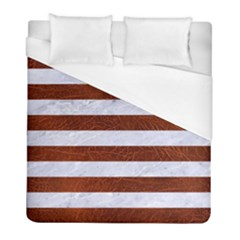 Stripes2white Marble & Reddish Brown Leather Duvet Cover (full/ Double Size) by trendistuff