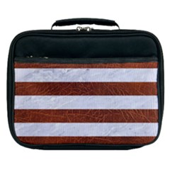 Stripes2white Marble & Reddish Brown Leather Lunch Bag