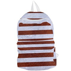 Stripes2white Marble & Reddish Brown Leather Foldable Lightweight Backpack by trendistuff