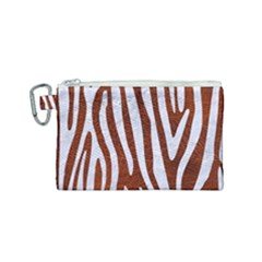 Skin4 White Marble & Reddish Brown Leather (r) Canvas Cosmetic Bag (small) by trendistuff
