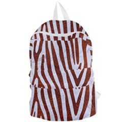 Skin4 White Marble & Reddish Brown Leather Foldable Lightweight Backpack by trendistuff
