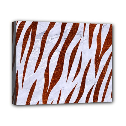 Skin3 White Marble & Reddish Brown Leather (r) Canvas 10  X 8  by trendistuff