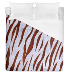 Skin3 White Marble & Reddish Brown Leather (r) Duvet Cover (queen Size) by trendistuff