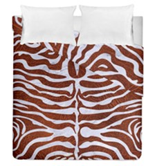 Skin2 White Marble & Reddish Brown Leather Duvet Cover Double Side (queen Size) by trendistuff