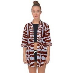 Skin2 White Marble & Reddish Brown Leather Open Front Chiffon Kimono