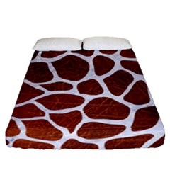 Skin1 White Marble & Reddish Brown Leather (r) Fitted Sheet (queen Size) by trendistuff
