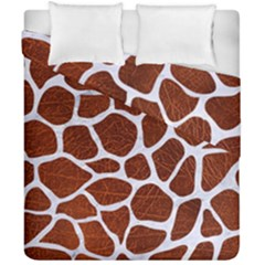 Skin1 White Marble & Reddish Brown Leather (r) Duvet Cover Double Side (california King Size) by trendistuff