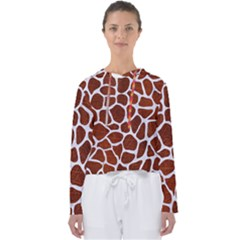 Skin1 White Marble & Reddish Brown Leather (r) Women s Slouchy Sweat