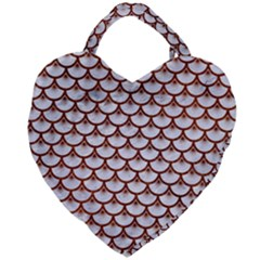 Scales3 White Marble & Reddish Brown Leather (r) Giant Heart Shaped Tote by trendistuff