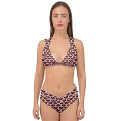 Scales3 White Marble & Reddish Brown Leather Double Strap Halter Bikini Set