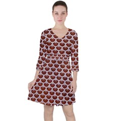 Scales3 White Marble & Reddish Brown Leather Ruffle Dress
