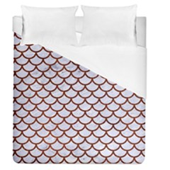 Scales1 White Marble & Reddish Brown Leather (r) Duvet Cover (queen Size) by trendistuff