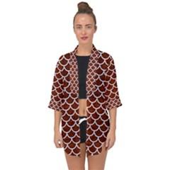 Scales1 White Marble & Reddish Brown Leather Open Front Chiffon Kimono