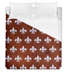 Royal1 White Marble & Reddish Brown Leather (r) Duvet Cover (queen Size) by trendistuff
