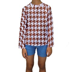 Houndstooth1 White Marble & Reddish Brown Leather Kids  Long Sleeve Swimwear by trendistuff