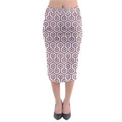 Hexagon1 White Marble & Reddish Brown Leather (r) Midi Pencil Skirt by trendistuff