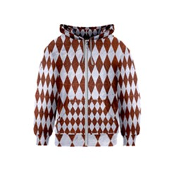 Diamond1 White Marble & Reddish Brown Leather Kids  Zipper Hoodie
