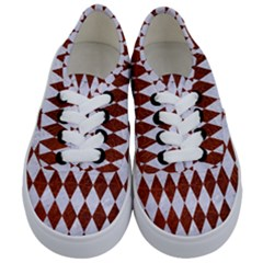 Diamond1 White Marble & Reddish Brown Leather Kids  Classic Low Top Sneakers