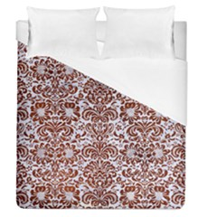 Damask2 White Marble & Reddish Brown Leather (r) Duvet Cover (queen Size) by trendistuff