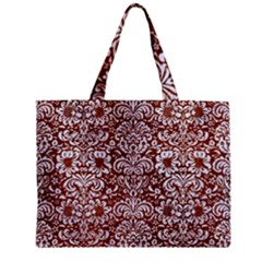 Damask2 White Marble & Reddish Brown Leather Zipper Mini Tote Bag by trendistuff