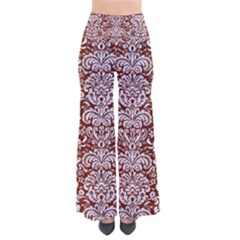 Damask2 White Marble & Reddish Brown Leather So Vintage Palazzo Pants by trendistuff