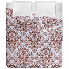 Damask1 White Marble & Reddish Brown Leather (r) Duvet Cover Double Side (california King Size) by trendistuff