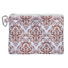 Damask1 White Marble & Reddish Brown Leather (r) Canvas Cosmetic Bag (xl)