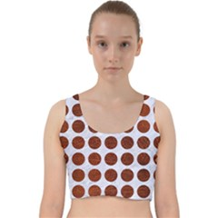 Circles1 White Marble & Reddish Brown Leather (r) Velvet Racer Back Crop Top