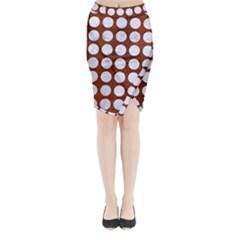 Circles1 White Marble & Reddish Brown Leather Midi Wrap Pencil Skirt